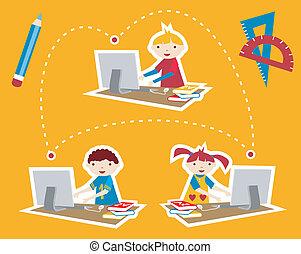 komunikacja, szkoła, sieć, towarzyski