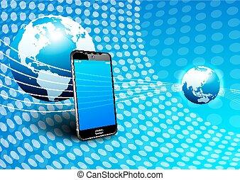 komunikacja, telefon, globalny, cyfrowy