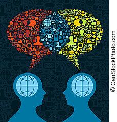 komunikacja, towarzyski, mózg, media