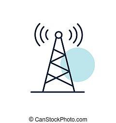 komunikacja, wektor, nawigacja, antena, icon., znak