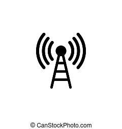 komunikacja, wektor, płaski, antena, ikona