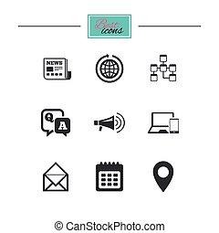 komunikacja, wiadomości, icons., nowość, pogawędka, signs.