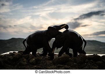 komunikować, słoń, dwa, byki, antrakt, fighting., znowu, gra