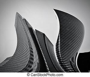 konceptualny, abstrakcyjny, drapacze chmur, handlowy, architektura