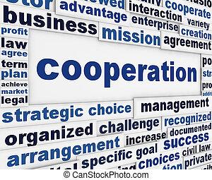 konceptualny, afisz, projektować, kooperacja