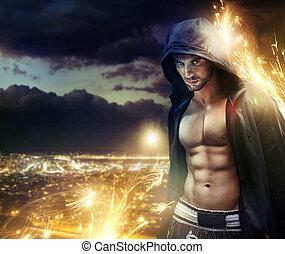 konceptualny, fotografia, zakapturzony, strongman