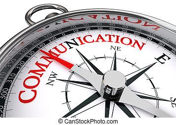 konceptualny, komunikacja, słowo, czerwony, busola