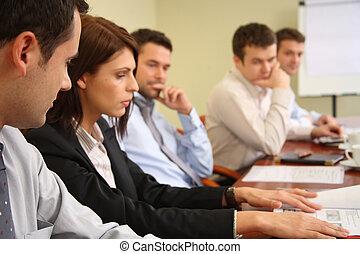 konceptualny, praca, piątka, businesspeople