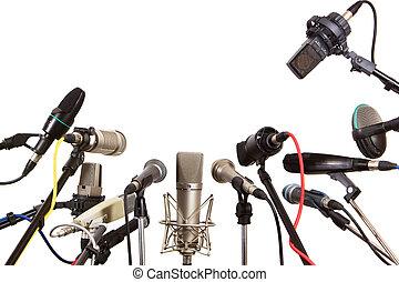 konferencja, gawędziarz, mikrofony, gotowy, spotkanie