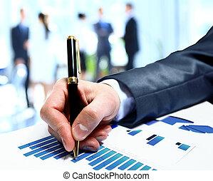 konferencja, grupa, handlowy zaludniają, praca, diagram, podczas, drużyna, zameldować, finansowy, dyskutując