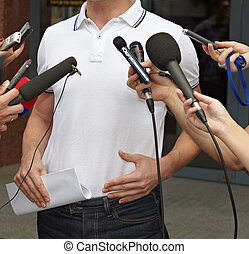 konferencja, handlowy, dziennikarstwo, mikrofony, spotkanie