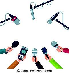 konferencja, mikrofony, pojęcie, wektor, dzierżawa wręcza, tłoczyć