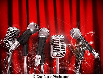 konferencja, mikrofony, szorstki, na, gotowy, gawędziarz, spotkanie, czerwony