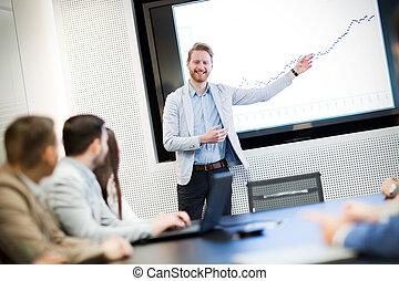 konferencja, obraz, spotkanie pokój, handlowy
