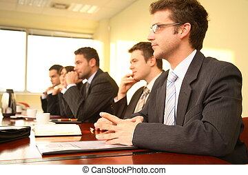 konferencja, osoby, piątka, handlowy