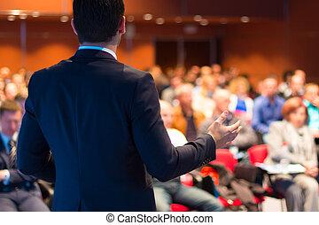 konferencja, presentation., mówiący, handlowy