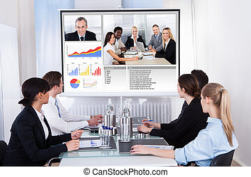 konferencja spotkanie, video, businesspeople, handlowy