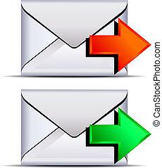 kontakt, email, wysyłać, ikona