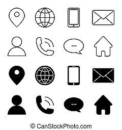 kontakt, komplet, ikony