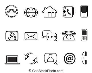 kontakt, komplet, szkic, ikony