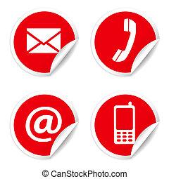 kontakt, majchry, czerwony, na, ikony