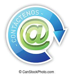 kontakt, projektować, na, ilustracja, hiszpański