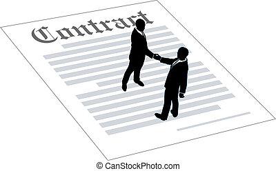 kontrakt, ludzie, porozumienie, handlowy znaczą