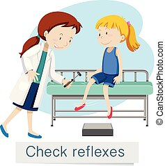 kontrola, dziewczyna, refleksy, doktor