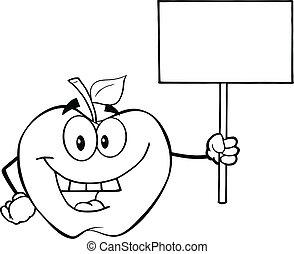 konturowany, czysty, jabłko, dzierżawa, znak