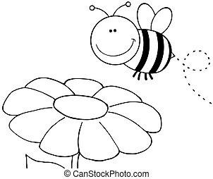 konturowany, lecąc na drugą, kwiat, pszczoła