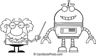 konturowany, robot, profesor