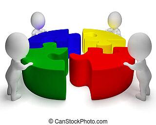 kooperacja, zagadka, rozwiązany, jedność, litery, widać, 3d