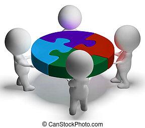 kooperacja, zjednoczenie, zagadka, rozwiązany, litery, widać, 3d