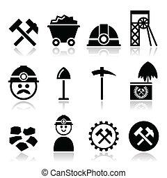 kopalnia węgla, komplet, górnik, ikony