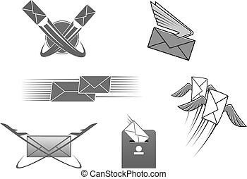 koperta, wektor, litera, poczta, poczta, pocztowy, ikona
