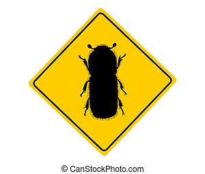 kora, ostrzeżenie, chrząszcz, znak