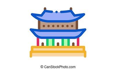 koreański, gmach, ikona, ożywienie
