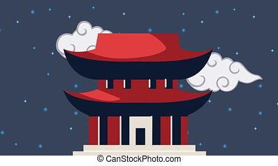koreański, pagoda, ożywienie, kultura