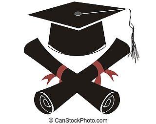 korona, czarnoskóry, odizolowany, skala, dyplom
