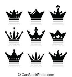 korona, komplet, królewski, rodzina, ikony