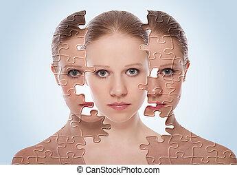kosmetyczny, skóra, przed, care., twarz, skutki, traktowanie, kobieta, po, postępowanie, pojęcie, młody