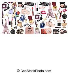 kosmetyki, komplet, pociągnięty, przybory, ręka