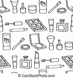 kosmetyki, rysunek, seamless, dachówka