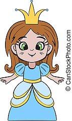 kostium, dziewczyna, wektor, księżna, ilustracja