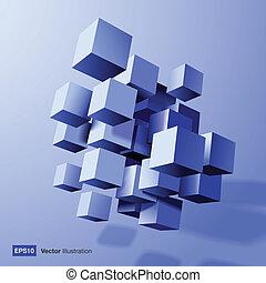 kostki, skład, abstrakcyjny, 3d, błękitny