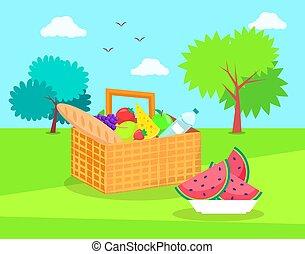 kosz, świeża zielenina, piknik, owoce