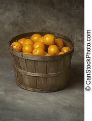 kosz, świeży, pomarańcze, buszel