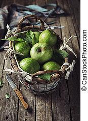 kosz, świeży, zielone jabłka