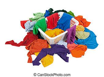 kosz, brudny, jasny, pralnia, odzież