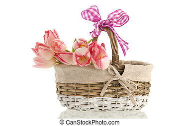 kosz, bukiet, tulipany